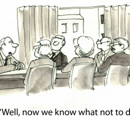 cartoon about declining business sales that could be solved with the assistance of a top Grand Rapids business litigation attorney