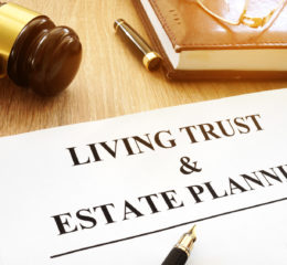 Living trust and estate planning form on a desk of a Grand Rapids Estate Planning Attorney.