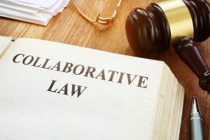 Collaborative Law book with gavel, when wanting a collaborative divorce work with Michigan Family Law Lawyer.